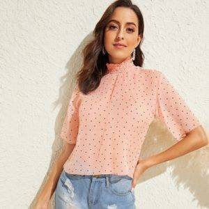 Alice Shirred Neckline Polka-dot Print Top shop TOPS