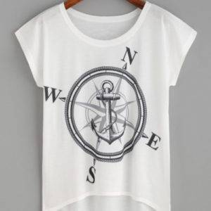One Direction Compass And Anchor Print High Low T-shirt TOPS