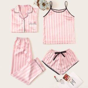 Ruby's Home 4pcs Striped Satin Pajama Set Loungewear Quick Delivery shop