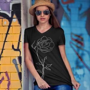 Flower Jersey Short Sleeve V-Neck Tee shop Tees TOPS