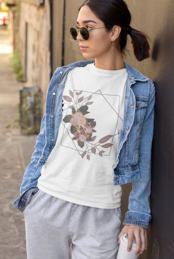Geometric Floral Unisex Jersey Short Sleeve Tee shop Tees TOPS